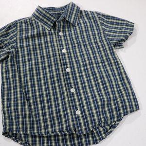 Cherokee Shirts & Tops - Plaid Blue/Green Strip Button down 4T Short Sleeve